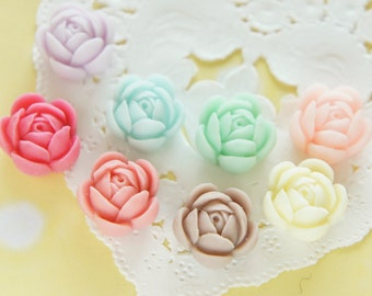 8 pcs Matte Finished Rose  Flower Cabochon (15mm) FL440