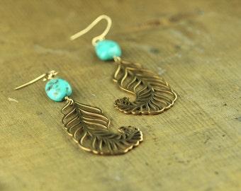 Sleeping Beauty Turquoise and Bronze Feather Earrings