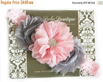Baby Pink and Grey Headband Newborn Headband Flower Headband Toddler Girl Headband in Pink and Gray..Infant Headband Infant