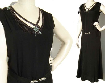 Vintage 30s Dress Black Art Deco Turquoise Beaded Rayon Gown M / L