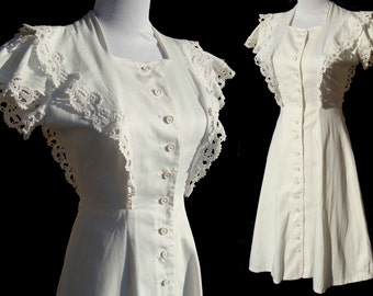Vintage 40s Dress White Cotton & Lace Art Deco Summer Swing S / M
