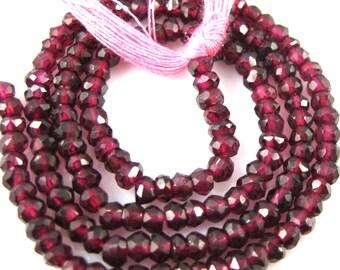 Semi Precious Gemstones,Gemstone Beads-Garnet Micro Faceted Rondelle -January Birthstone-3-3.5mm-13.5 inches-sku: 309002-GAR