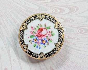 Antique  Victorian Button,Emaux Peint Pink Rose Decoration, Stud or Lapel Button 2.3cm diameter,Champlevé Enamel
