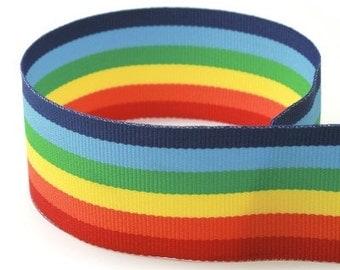 """Grossgrain Striped Ribbon 5/8"""" 20 yd roll - RAINBOW"""