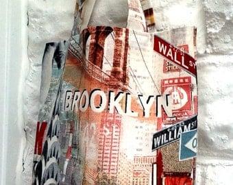 Shoulder Bag - New York Streets Cotton Canvas , Handmade
