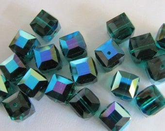 20 Wholesale Faceted Swarovski, Crystal Cubes, 8mm 5601, Emerald AB, New Britz Beads Supply