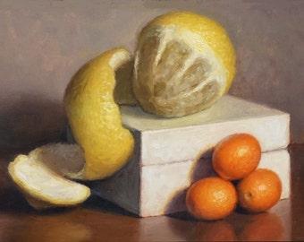 "Original Oil Painting, ""Peeled Lemon and Kumquats"" 6x8in."