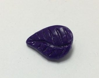 Leaf - Eggplant Purple - Hand Made Clay Button