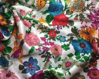 Flower Garden - Silk Charmeuse Fabric - fat 1/4