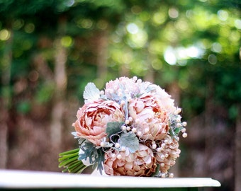 BRIDAL BOUQUET - SALE - couture flowers - handmade from scratch with designer pure silk and fresh water pearls