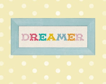 Dreamer. Colorful Whimsical Text Cross Stitch PDF Pattern Instant Download
