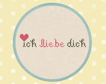 Ich Liebe Dich. I Love You Text Cross Stitch PDF Pattern Instant Download