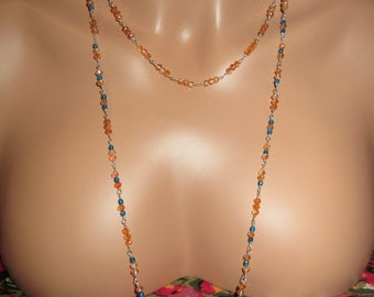 Long Dainty Colorful Sterling Silver Wire Wrap Sparkling Glass Beaded Necklace, One of a Kind, Hand Made