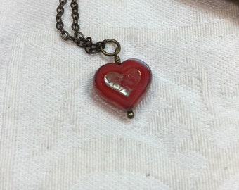 Red heart necklace, Romantic jewelry, Valentine day gift, bridesmaid gift, heart jewelry, heart necklace