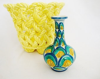 vintage majolica miniature pottery vase mediterranean style blue and yellow