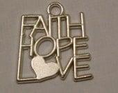 Faith Hope Love Silvertone Christian/Inspirational Charm