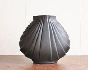 Vintage modern porcelain vase, Black
