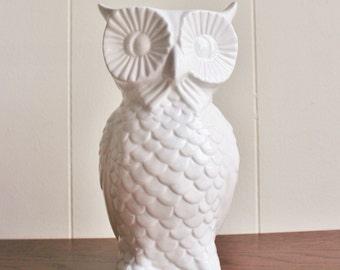 Vintage white ceramic owl vase