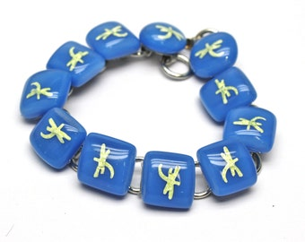 Dragonfly Bracelet, Blue and Yellow, Fused Glass Links, Animal Jewelry, Handmade in USA