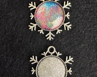 5 Snowflake Bezels Settings Cabochon Base Cameo Ornament Antique Silver  43x38x25mm Pendants