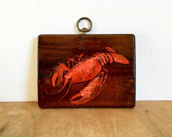 Rustic Hand Painted Nautical Lobster Painting on Wood Plaque
