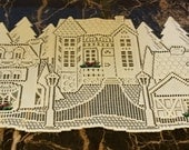 Lace Table Runner of Houses