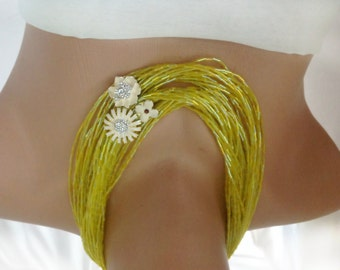 Lime Green Necklace,  Boho Brides Choker , Green Crystal Seed Beads with Rhinestone and Enamel Flower Brooches
