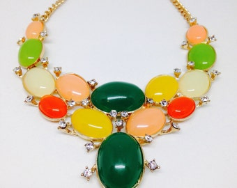 Multi Color Cabochon Bib Necklace in Gold Tone Metal, Reclaimed, 18-20 inches