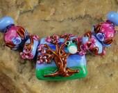 Glass Lampwork Beads, Tree Owl SRA #523 by CC Design