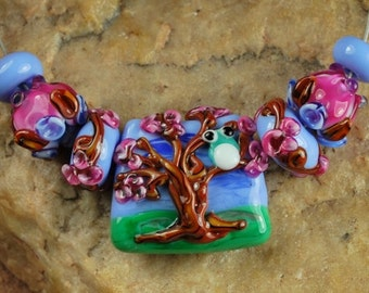 Glass Lampwork Beads, Tree Owl SRA #523 by CC Design