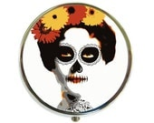 Pill Box Case Day of the Dead Silver Stash