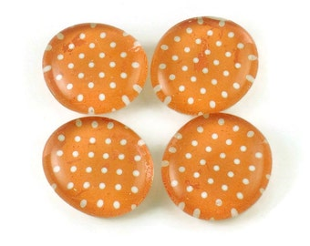 Orange Refrigerator Magnets  Funky Magnets in Tangerine Polka Dots (M98)