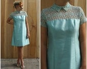 Beautiful Aqua Blue Vintage 60's Mod Silk Shift Dress with Lace Illusion Bodice, Peter Pan Collar and Matching Bra | Medium