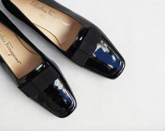 sz 7 | Vintage Black Patent Leather Loafers with Bow by Ferragamo, New In Box