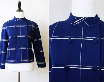 Vintage 60's Mod Blue and White Wool Windowpane Double-breasted Button-Up Sweater w/ Stand-up Collar | Small/Medium