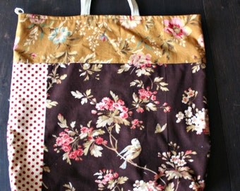 Large Patchwork Tote Bird Theme Dark Florals Project Bag