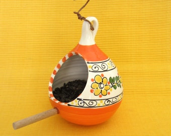 Orange and Yellow Bird Feeder