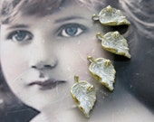 Frosted White Patina on Antique Gold Plate Leaf with Ladybug Charms 1145WHTGOL x4