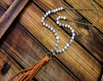 Chattanooga, Western Cowgirl Southwestern Boho Aquamarine Leather Tassel Necklace- Tassel Necklace- Leather Boho Necklace- Stone Necklace