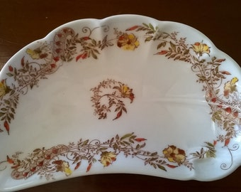 Vintage Haviland Fish Bone Dish with Flowering Vines