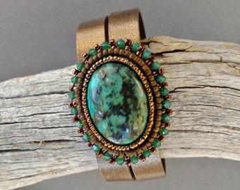 Bronzepony Mother Earth, Beadwork Leather Cuff Bracelet, Beaded Turquoise Cabochon Cuff Bracelet, Beaded Leather Cuff, Beadwork Cuff, Boho