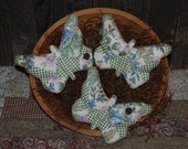 SET OF THREE Summer Quilt Top Butterfly Tucks Blue Green Bowl Fillers Primitive Ornies