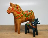 "Vintage Dala Horse NATURAL 5 1/4"" and BLUE 3"" Wood Swedish with Original Label"
