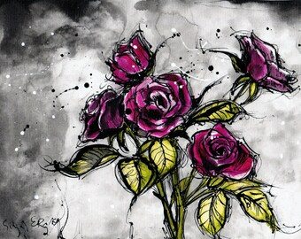 Ink painting on canvas A4 (20x30cm, 8x12in) - pink roses