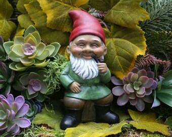 """Black Gnome Smoking a Pipe """"Homie The Gnomie"""" - Concrete Garden Gnome Decor Art"""