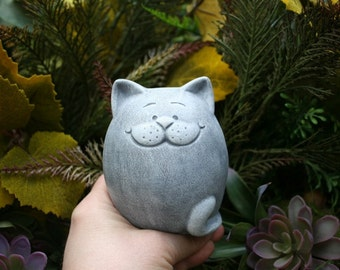 Fat Cat Statue   Is READY TO SHIP Now   Abstract Zen Kitty Cat   Outdoor