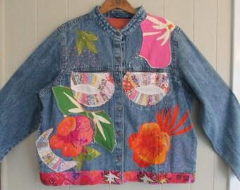 Wearable Folk Art DENIM JACKET Fabric Flowers Collage Clothing - Upcyled Repurposed Applique  - my bonny Size L