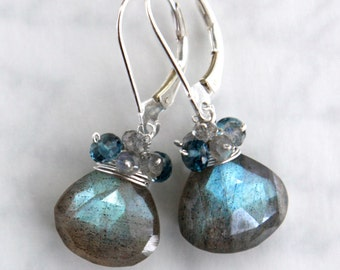 Labradorite and London Blue Topaz Earrings in Sterling Silver