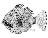 Adult Coloring Pages Printable DIY Zendoodle Zentangle 8.5 x 11 pdf Kauai Hawaii Tropical Fish doodle black white zentangle inspired art