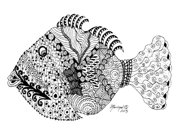 Adult Coloring Pages Printable DIY Zendoodle Zentangle 85 X 11 Pdf Kauai Hawaii Tropical Fish Doodle Black White Inspired Art